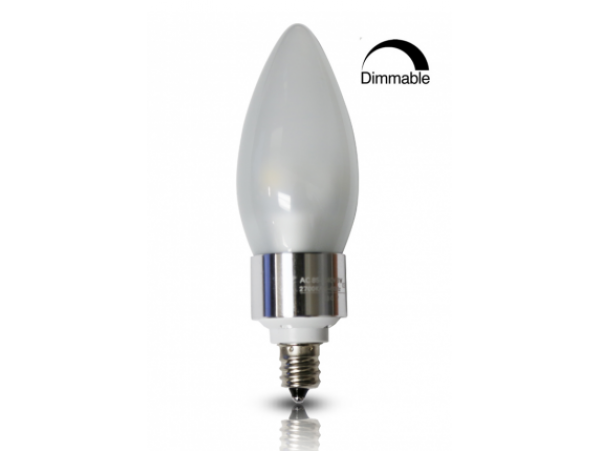 3Watt Dimmable LED Frosted Candle Light - E12 Base Candelabra Bulb - 30W Incandescent Equivalent - Chandelier Mate