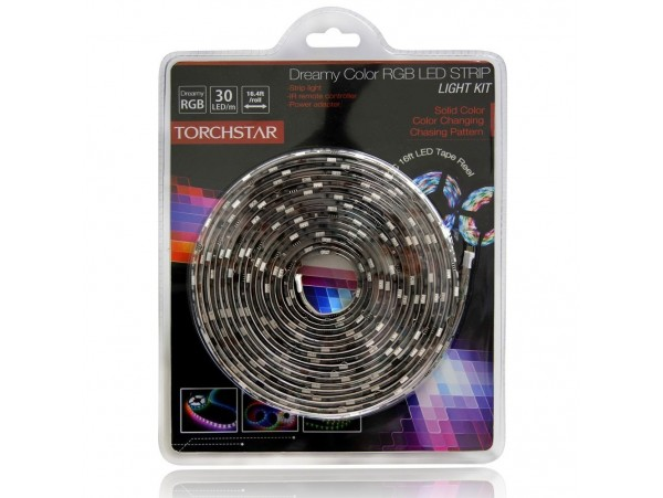 16.4ft (5m) Dreamy RGB Color Chasing LED Strip Light Kit: Waterproof Flexible Chasing LED Light Strip + RGB Controller + 24-key IR Remote + UL-listed Power Adapter - 5050SMD 150LEDs
