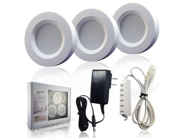 Set of 3 LED Under Cabinet Lighting Kit - 3Watt Aluminum Puck Lights with UL-listed Power Adapter - Warm White Color - High Quality