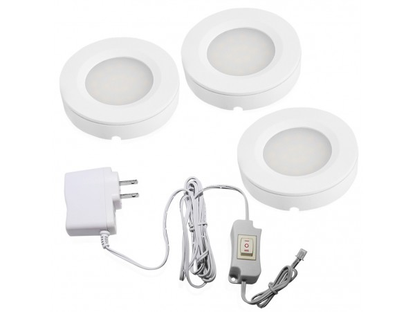 Set of 3 LED Under Cabinet Lighting Kit - 2Watt LED Puck Lights with UL-listed Power Adapter - Warm White - High Quality