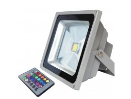 AC85V-265V 30W Outdoor RGB LED Flood Light w/ 24-key IR Remote - 16 Different Color Tones - 120 Degree Beam Angle - Waterproof IP-65