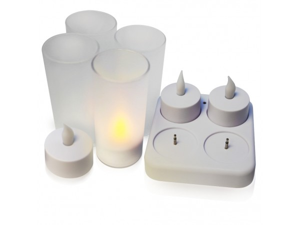 Flickering LED Flameless Candles - Rechargeable LED Tealight Candles for Christmas, Wedding, Party and Events Atmosphere (3000K Warm White)