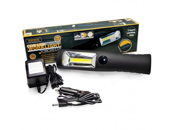 3W Rechargeable COB LED Work Light w/ Clip, Magnet, Car Charger, UL Listed Power Supply - Portable Cordless Work Lamp - All Purpose - RWL-06