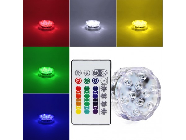 RGB Submersible LED Lights - Battery Powered LED Accent Lights w/ 24-key IR Remote for Wedding, Centerpiece, Halloween, Party Lights